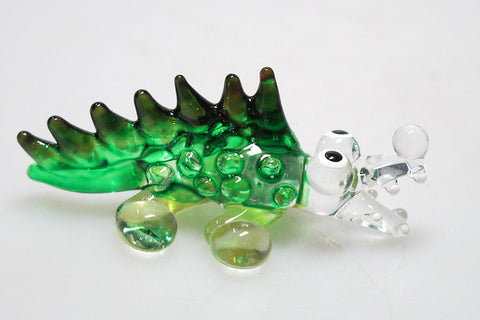 Tiny CRAFT COLLECTIBLE MINIATURE HAND BLOWN Art GLASS Green Crocodile FIGURINE