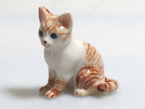 Hand Painted Miniature Collectible Ceramic Porcelain Siamese Tiger Cat FIGURINE