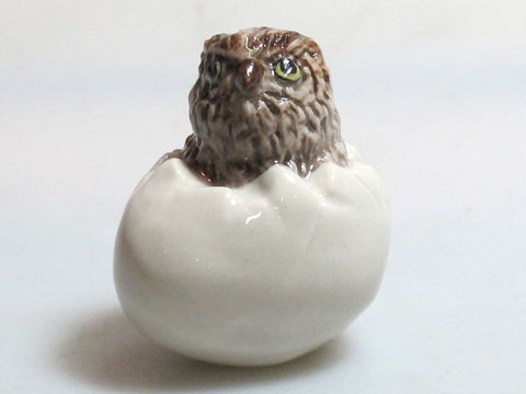 Miniature Collectible Ceramic Brown Wood baby Owl Zoo Animal Figurine Bird