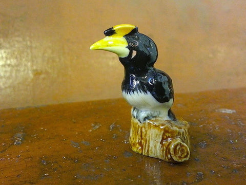 Handmade Miniatures Collectible Ceramic Porcelain Hornbill Bird FIGURINE