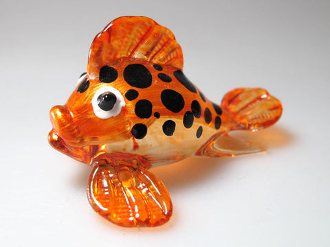 Aquarium Ornament MINIATURE HAND BLOWN GLASS DARK Orange Puffer Fish FIGURINE