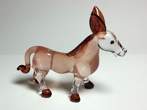 Farm CRAFT COLLECTIBLE Figurines MINIATURE HAND BLOWN Art GLASS Donkey Ornament