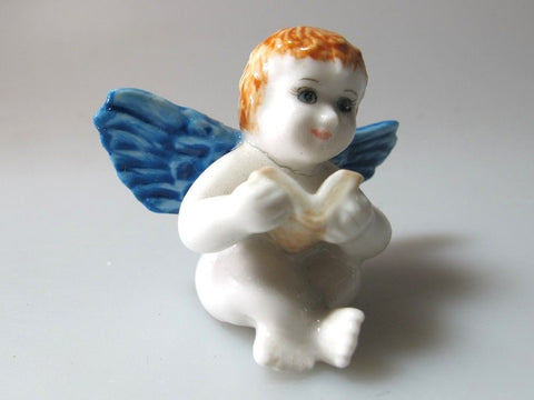 Handicraft Dollhouse Miniature Craft Collectible Ceramic Angel FIGURINE Ornament