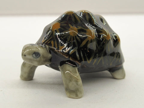 Handcrafted Porcelain Miniature Collectible Ceramic Radiata Turtle Figurine