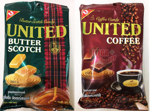 2 x 125g. UNITED Hard Candy Halal Thailand (ButterScotch , Coffee)