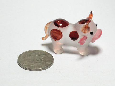Tiny Farm Craft Collectible MINIATURE HAND BLOWN GLASS Brown Dot Cow FIGURINE