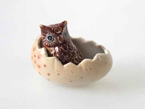 Craft Miniature Collectible Ceramic Brown Owl in Egg Zoo Animal Figurine