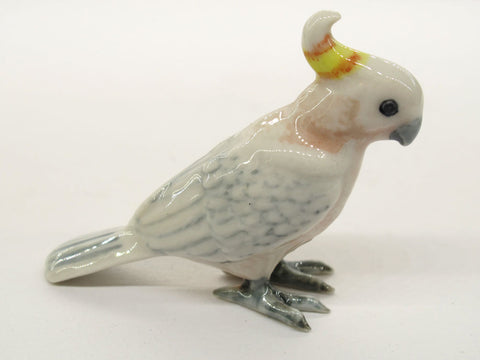 Handicraft Miniatures Collectible Ceramic Porcelain Pink Cockatoo Bird FIGURINE
