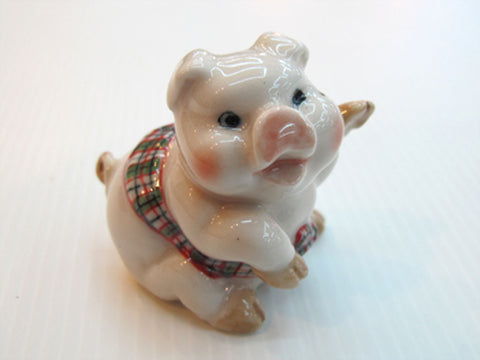 Handmade Miniatures Collectible Ceramic Sawasdee Pig FIGURINE Cute Animals