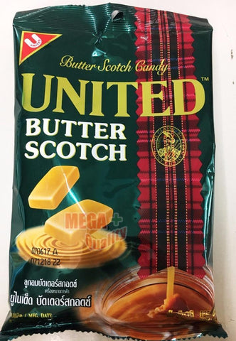 UNITED Butter Scotch Hard Candy Halal Thailand most delicious buttery 125g.