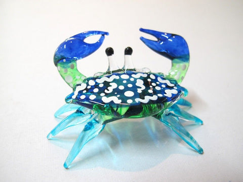 Handcrafted MINIATURE HAND BLOWN GLASS Blue Crab FIGURINE Ornaments Collection