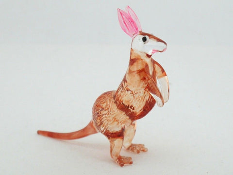 CRAFT COLLECTIBLE MINIATURE HAND BLOWN Art GLASS Kangaroo FIGURINE Wildlife