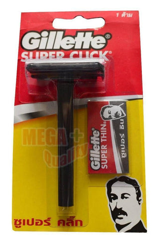 1 X Gillette SUPER CLICK RAZOR + 1 Blades Gillette SUPER THIN
