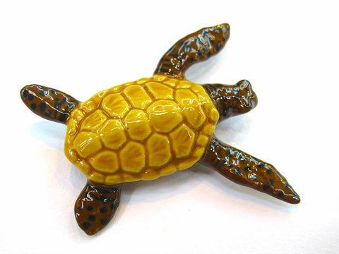 Handcrafted Porcelain Miniature Collectible Ceramic Turtle Figurine Animal