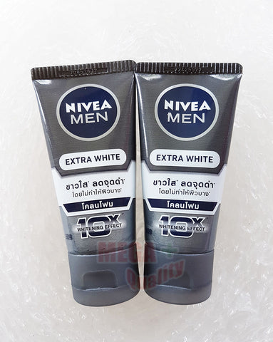 2x50g. NIVEA FOR MEN EXTRA WHITENING PORE MINIMIZER MUD COOL FACIAL FOAM 10 IN 1