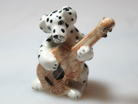 Tiny Miniature Ceramic Cute Black & White Dalmatian Dog Playing Guitar FIGURINE