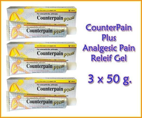 3 x 50 g. COUNTERPAIN PLUS ANALGESIC WARM PAIN RELEIF GEL MUSCLE PAIN