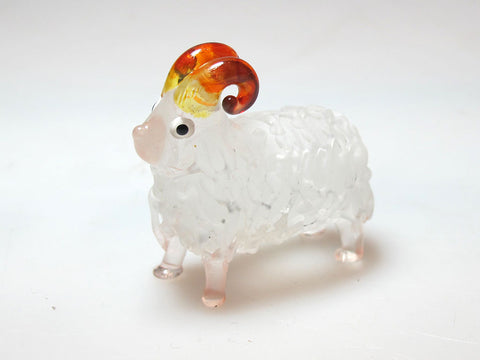 FARM CRAFT MINIATURE HAND BLOWN GLASS White Sheep FIGURINE Animals