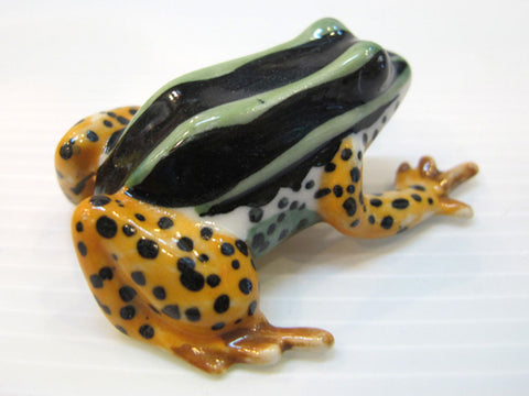 Porcelain Miniatures Collectible Ceramic Yellow Leg Frog FIGURINE
