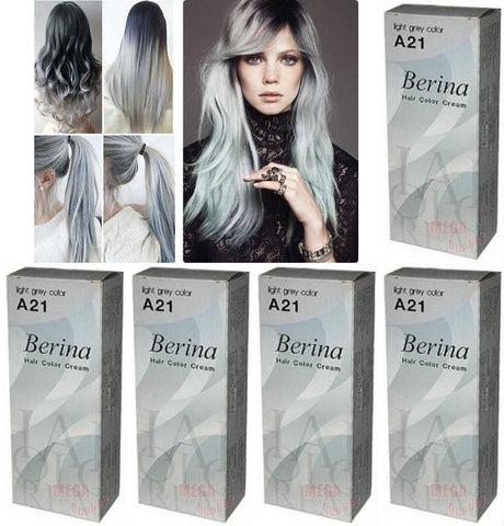 5 x Berina Permanent Hair dye color cream enough for long hair # A21 Light Grey