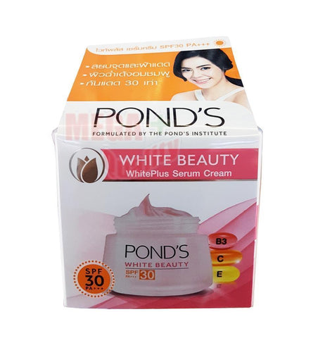 POND s WHITE BEAUTY WhitePlus Serum Day Cream Vitamin B3, C, E SPF30 PA+++ 50g.