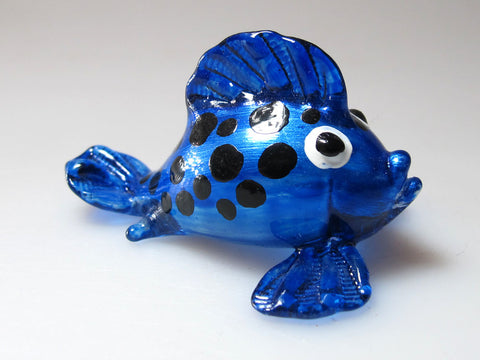 Aquarium Handicraft MINIATURE HAND BLOWN GLASS DARK BLUE Puffer Fish FIGURINE