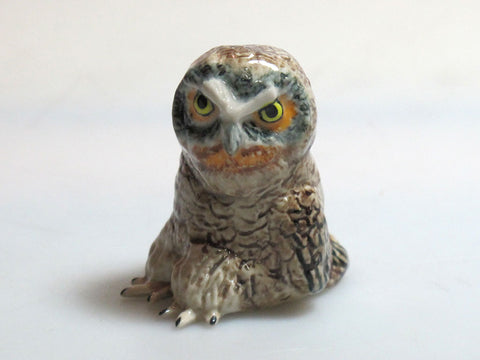 Dollhouse Miniature Collectible Ceramic Brown Wood Owl Zoo Animal Figurine Bird