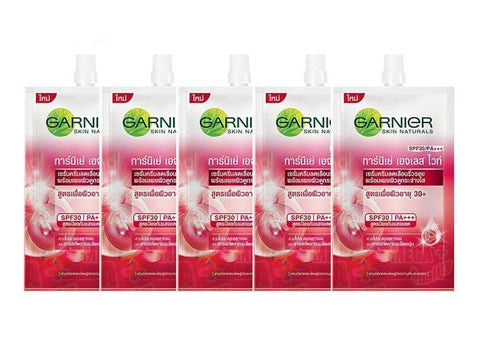 5 x Garnier AGELESS WHITE Anti-Aging Whitening Serum Cream SPF30 PA+++ 7ml