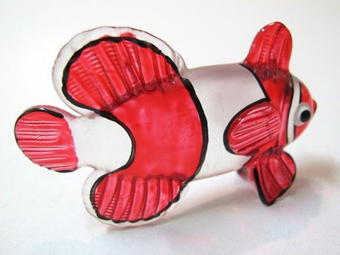 Fascinating Handicraft Miniature Hand Blown Glass Red CLOWN Fish Figurine
