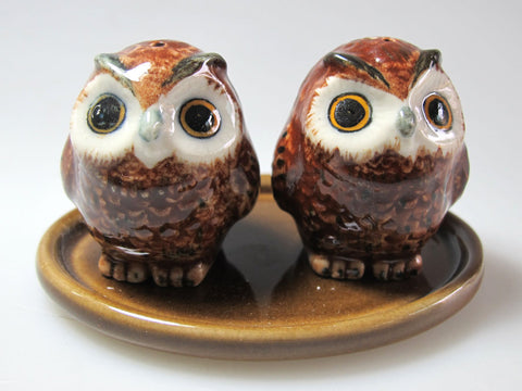 Craft Miniature Collectible Porcelain Fat Brown Owl Salt and Pepper