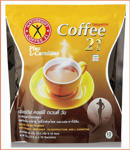 NatureGift Coffee 21 Plus L-Carnitine Slimming Lose weight Fast 10 Sachets