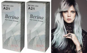 2 x Berina Permanent Hair dye color cream enough for long hair # A21 Light Grey