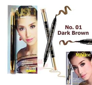 Mistine PUSH BROWSHAPENER 2in1 Liner Eyebrow Professional #No.01 Dark Brown 1.2g
