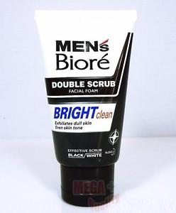 Biore Mens DOUBLE SCRUB BRIGHT Clean Facial Foam Exfoliates Dull Skin Tone 100g