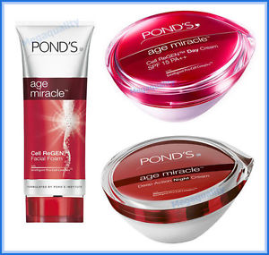 SET POND s AGE MIRACLE DAILY FACIAL FOAM CELL REGEN + DAY + NIGHT CREAM