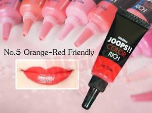 Mistine JOOPS!! COLOR RICH Lipstick Tube Liquid Lip #05 Orange Red Friendly 8g