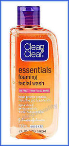 100 ml. CLEAN AND CLEAR ESSENTIALS FOAMING FACIAL WASH OIL FREE WONT CLOG PORES