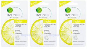 3 x GARNIER LIGHT LIGHTENING PEEL OFF MASK PURE LEMON ESSENCE WHITENING EXTRA
