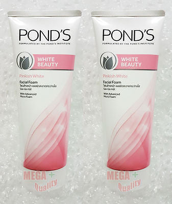 2 x Pond s White beauty Pinkish Glow Lightening Facial Face Foam 100 g.