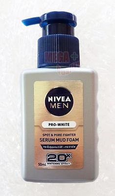 Nivea Men Pro-White Spot + Pore Fighter Serum Mud Foam Whitening Cleansing 50ml