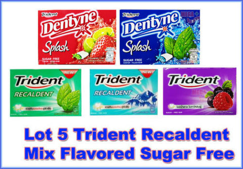 LOT 5 PACKS TRIDENT RECALDENT AND SPLASH MIX FLAVORED SUGAR FREE