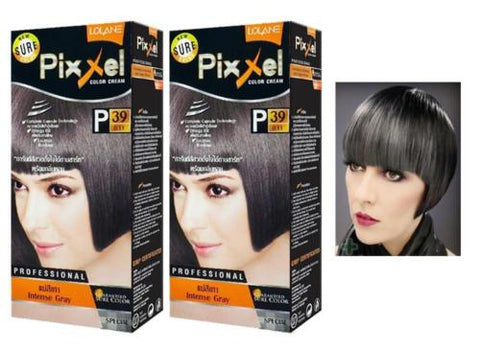 2 x Lolane Pixxel P39 Intense Gray Hair Permanent Dye Color Cream various colors