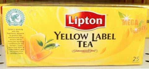 Lipton YELLOW LABEL TEA International Blend 100% Natural Health 25 Teabags/Box