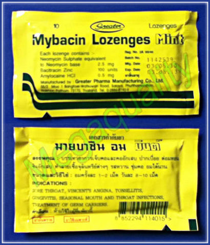 1 x MYBACIN LOZENGES MINT FAST RELIEF SORE THROAT 10 LOZENGE