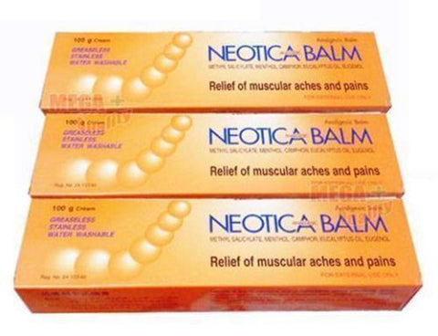 3x NEOTICA BALM Relief muscular aches and pain Analgesic Cream Balm 100g.