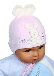Velour Little Bunny hat pink and cream
