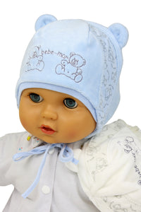 Velour hats for baby boys and girls in pink, cream and blue