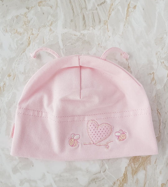 Baby Cotton busy bee Beanie pink - sizes 42 and 44