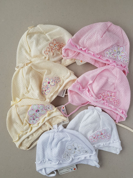Mesh baby girl summer hats in white, cream and pink