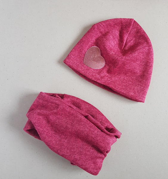 Girls set beanie hat and snood